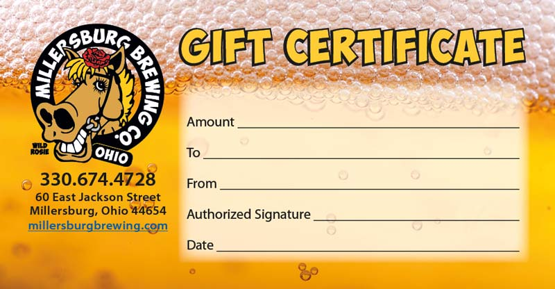 Gift Certificate | Millersburg Brewing Company